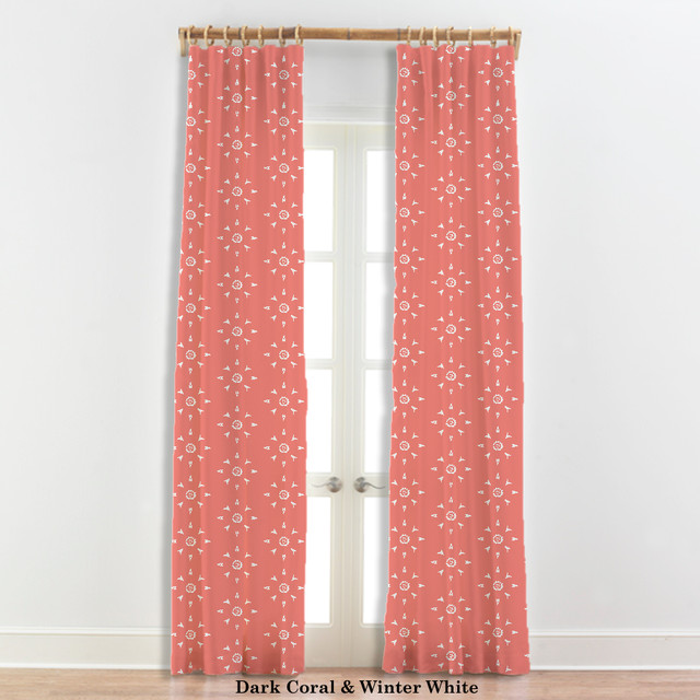 Moroccan Curtains Star Design Coral And White 22 Other Colors