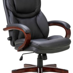 Wood And Leather Executive Office Chairs Chair Gym Exercise Chart Adjustable Lumbar Support Swivel Armrest Black