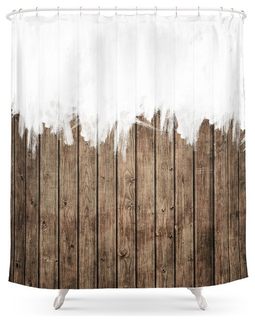 White Abstract Paint on Brown Rustic Striped Wood Shower