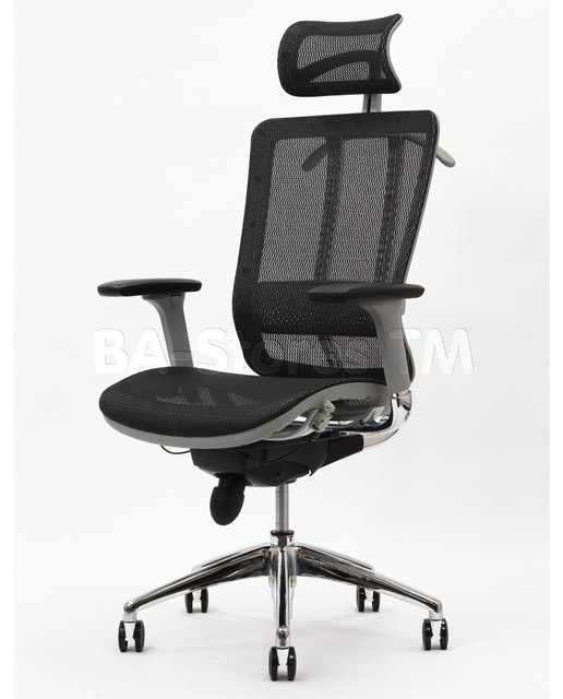 Future Office Chair with Headrest in Gray Frame with Black