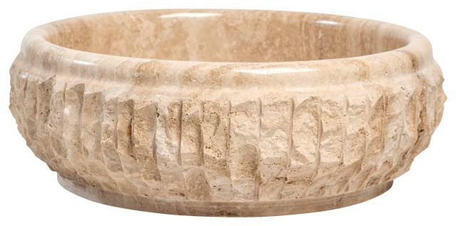 natural stone vessel bathroom sink chiseled travertine