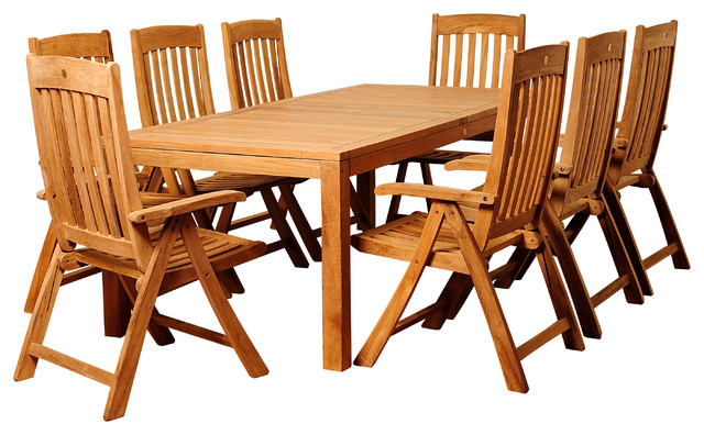 Chase 9-Piece Teak Rectangular Patio Dining Set