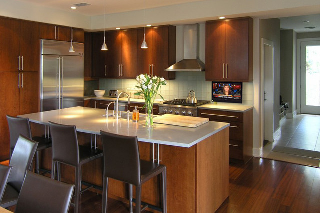 kitchen island with sink for sale unusual gadgets hidden drop down tv in modern kicthen - ...