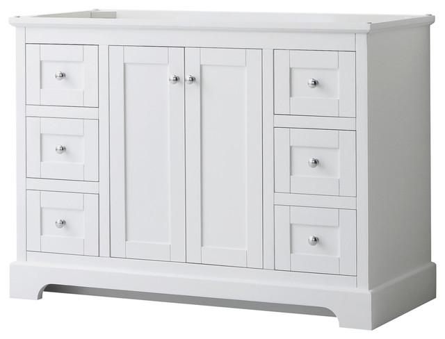 avery 48 white single vanity no countertop no sink no mirror