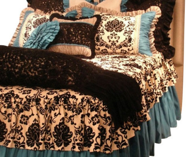Twin Size Turquoise Black And White Damask Toile Girls Bedding Set