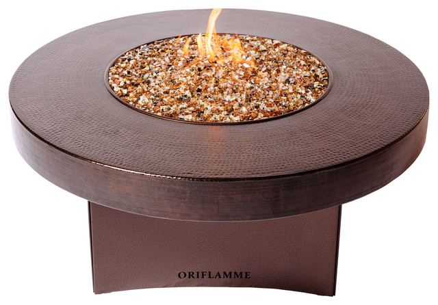 Oriflamme Gas Fire Pit Table Hammered Copper Rustic