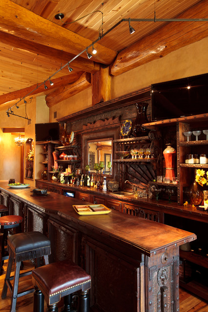 Log Cabin Awesome Traditional Home Bar Dallas By