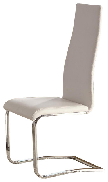 faux leather dining chairs wrought iron white with chrome legs set of 2 contemporary by u buy furniture inc