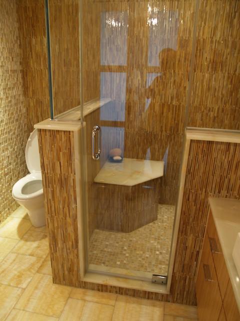 Master bath steam shower seat  Contemporary  Bathroom