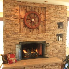 Kitchen Rugs For Hardwood Floors Home Styles Americana Island Travertine Fireplace - Traditional Living Room Los ...