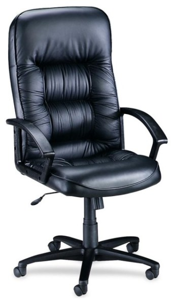 tufted leather executive office chair Lorell Tufted Leather Executive High-Back Chair, Leather Black Seat - Contemporary - Office