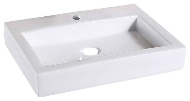 flat rectangular ceramic bathroom vessel sink 24 without drain