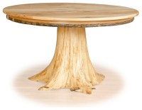 "Stump Table Hickory Top and Cedar Tree Stump, 36"" Diameter"