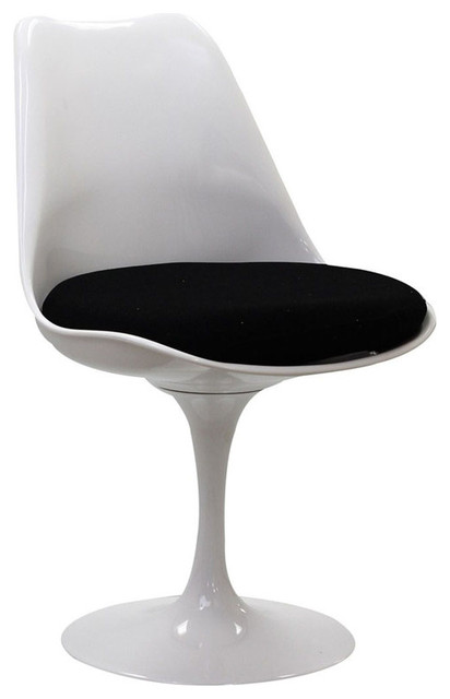 white cushion chair how much weight can a gaming hold tulip side modern with black midcentury