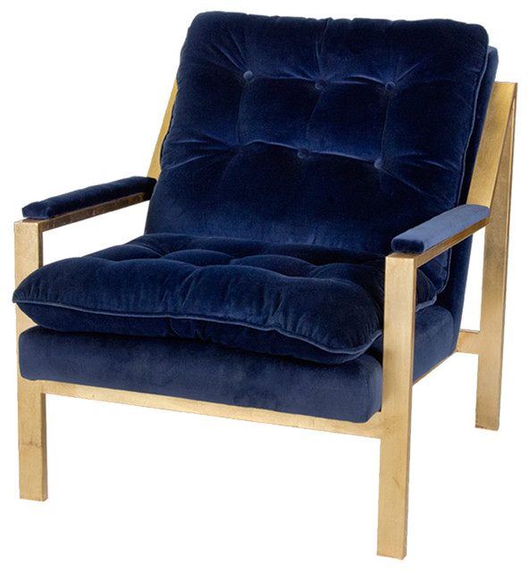 navy blue velvet club chair white leather egg and ottoman cumulus hollywood regency gold arm - transitional armchairs accent ...