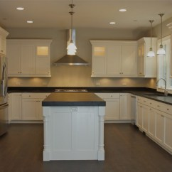 Kitchen Island Prep Table Outdoor Exhaust Hoods Custom, White Painted Cabinets With Flat Panel, Shaker ...