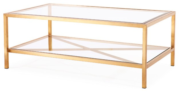 gardner coffee table, antique gold - contemporary - coffee tables