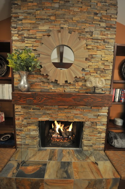 Stone Fireplace  Living Room  Transitional  Living Room