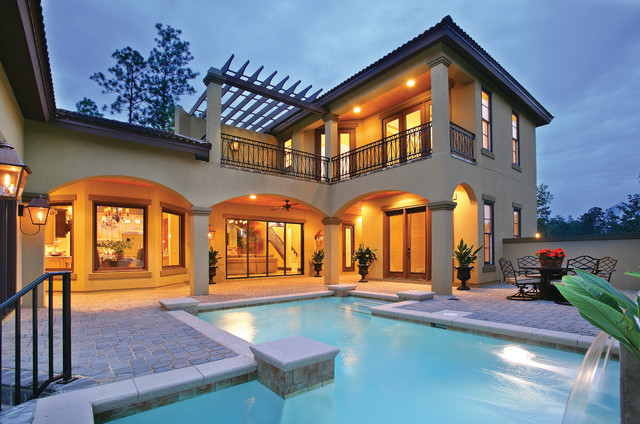 Sater Design Collections 6786 Ferretti Home Plan  Mediterranean  Pool  by Sater Design