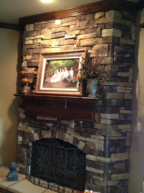 Faux Stone Fireplace