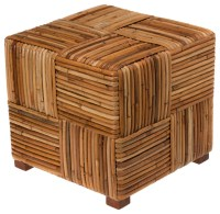 Bound Rattan Stool & Side Table - Tropical - Side Tables ...