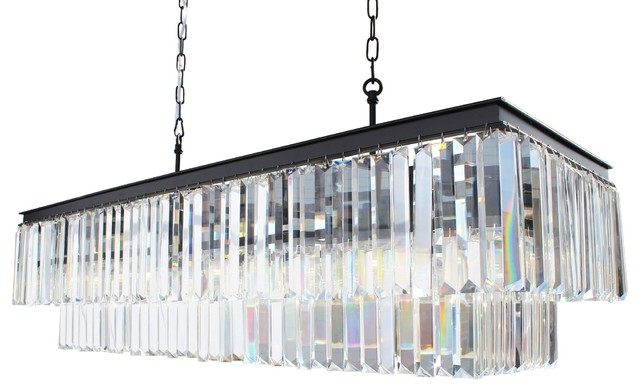 40 Rectangular Crystal Fringe Chandelier Transitional Chandeliers