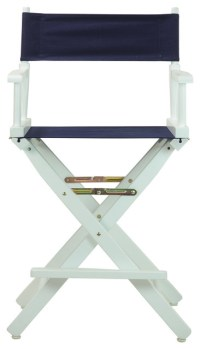 """24"""" Director's Chair With White Frame, Navy Blue Canvas ..."""