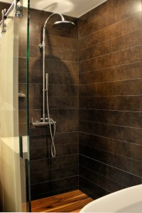 The spa look of this space is very nice. The shower floor ...
