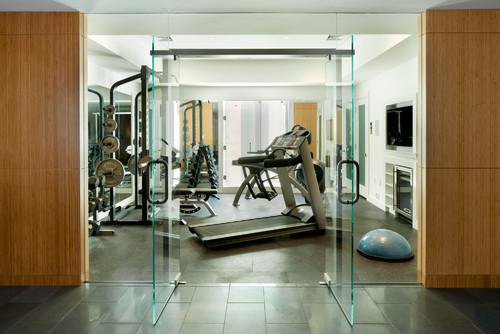 Basement home gym glass door and wall having fun along the way