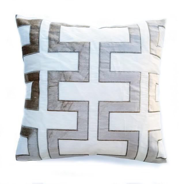 greek key natural pillow