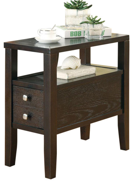 chair side tables with storage pottery barn slipcover casual cappuccino middle lower drawer shelf accent sofa table console by flatfair