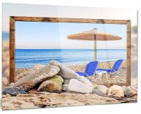 "Design Art USA ""Framed Beach With Chairs, Umbrella"" Metal ..."
