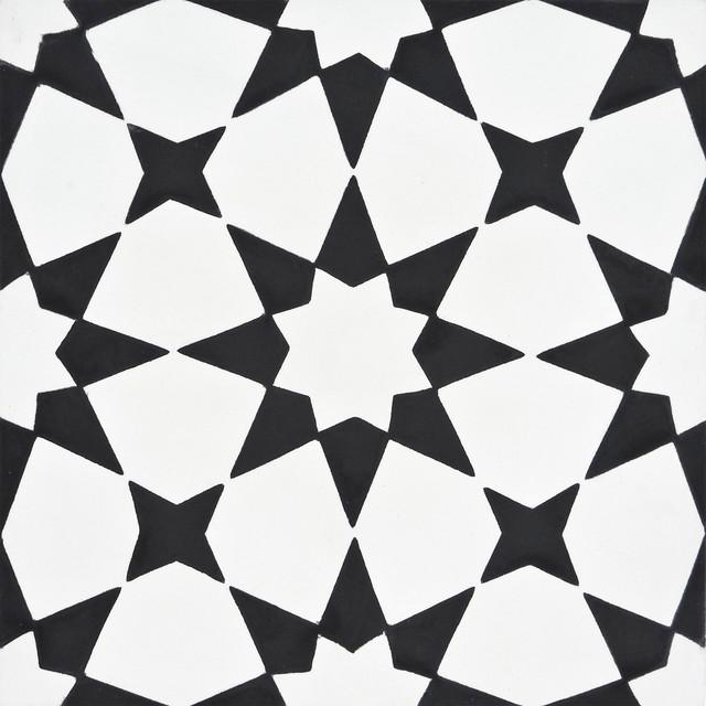 8 x8 medina handmade cement tile white black set of 12