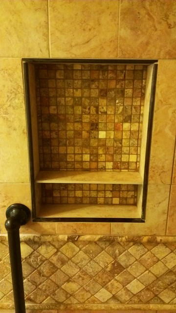 shower niche with oil bronze trim  Traditional  Bathroom