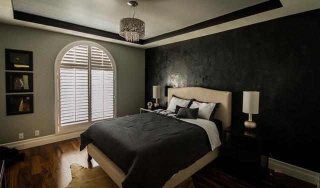 sherman oaks condo, modern lamps, black and gray bedroom, black
