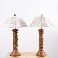 Pair of Table Lamps in Turned Wood with Plaster and ...