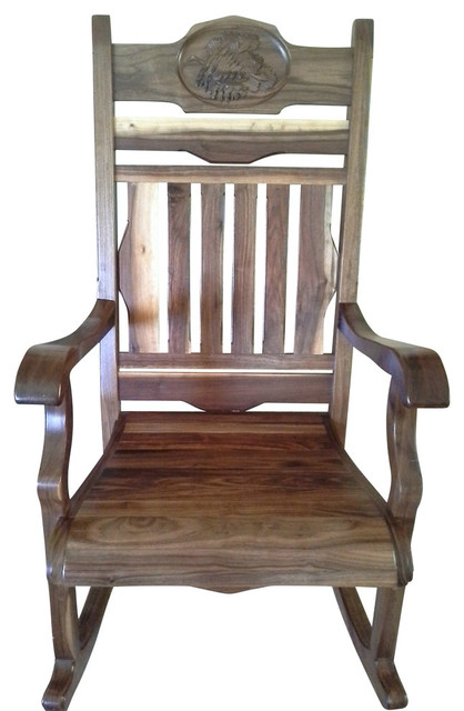 Solid Black Walnut Rocking Chair With Pine Cone Carving