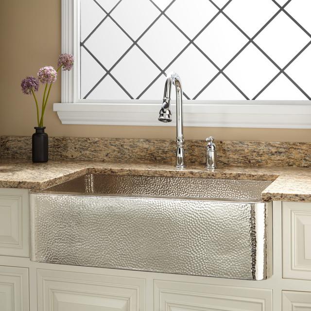 33 Reena NickelPlated Hammered Copper Farmhouse Sink  Modern  Kitchen Sinks  by Signature