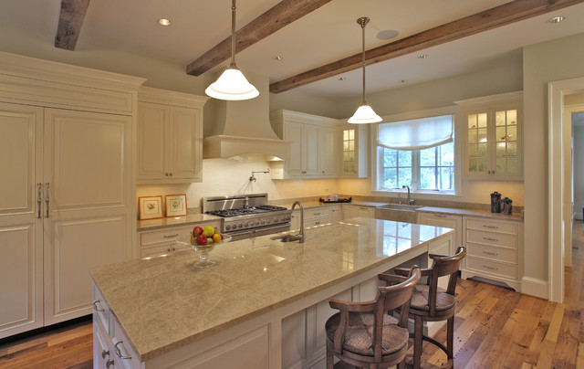 kitchen with exposed wood beams
