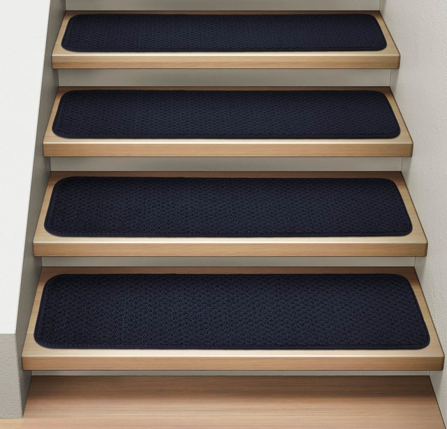 Attachable Carpet Stair Treads Navy Blue Set Of 15 8 X23 5   Navy Blue Stair Treads   Wayfair   Non Slip   Longshore Tides   Rug Stair   Stair Runners