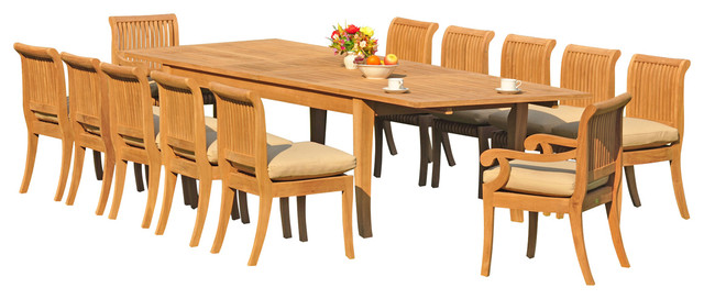 "13-Piece Outdoor Teak Dining Set, 122"" X-Large Rectangle"