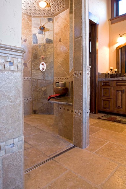 Mountain Rustic ZeroEntry Shower  Modern  other metro