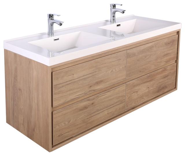 mom 60 wall mounted vanity with 4 drawers and acrylic double sink teak oak