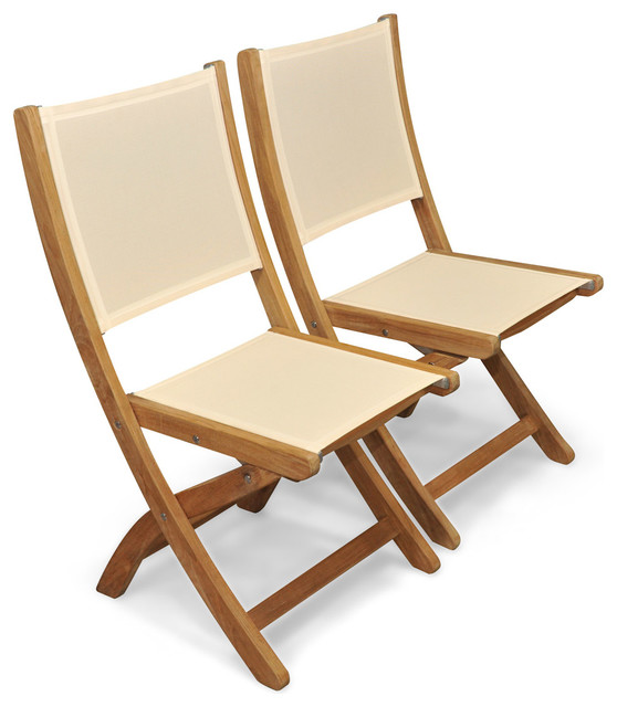 teak folding chair tall dining chairs providence batyline cream set of 2 contemporary outdoor by goldenteak patio furniture