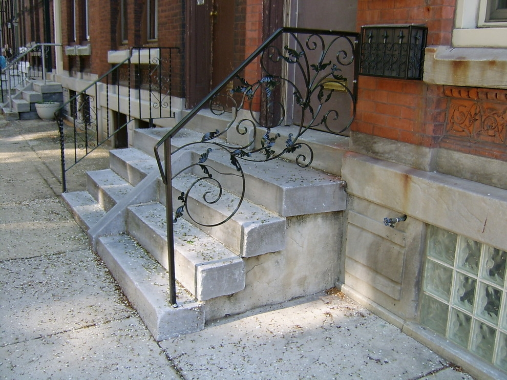 Front Porch Railings Traditional Porch Philadelphia By | Handrails For Front Steps | Stair | Brick | Steel | Simple | Contemporary