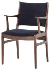 Bina Arm Chair in Dark Blue Canvas - Midcentury ...