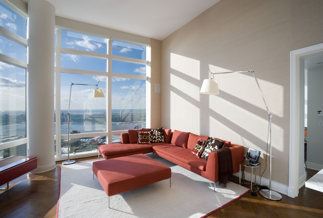 Living Room Uptown High Rise Apartment New York Citycontemporary