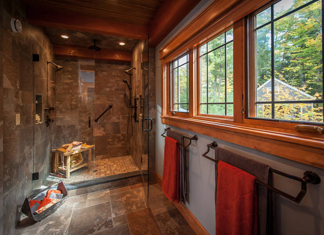 Timberframe Lake House Master Bath Rustic Bathroom