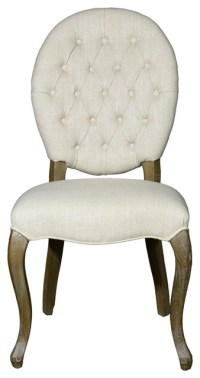 Armless Dining Chair, Toon Wood, Set of 2, Cream, Oval ...