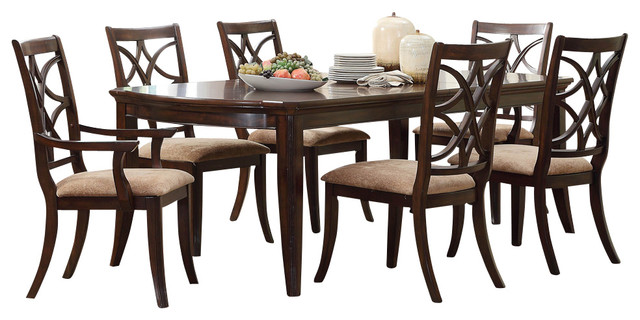 monarch double x back dining chairs banded swivel blind chair keegan 7-piece room set, brown cherry - traditional sets by beyond stores